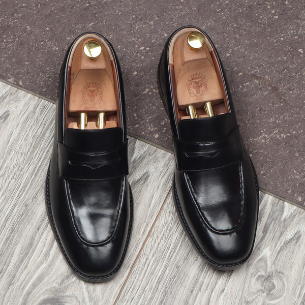 Black Leather Penny Loafers By BRUNE