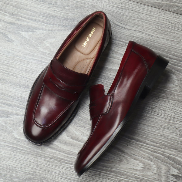 Wine Leather Penny Loafers By BRUNE