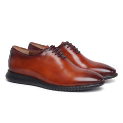 Tan One Piece Leather Ultra Lightweight Oxford Shoes By Bareskin
