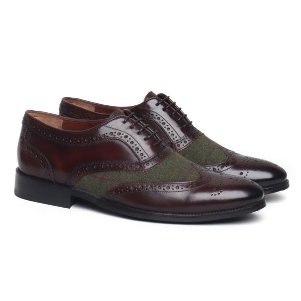 Brown Leather With Green Wool Full Brogue Wingtip Formal Shoes By Brune