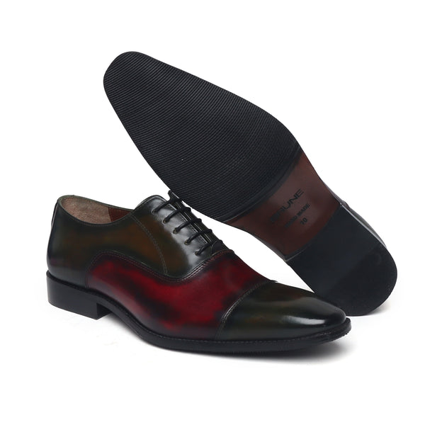 Olive-Wine Dual Shade Leather Cap Toe Oxford Shoes By Brune