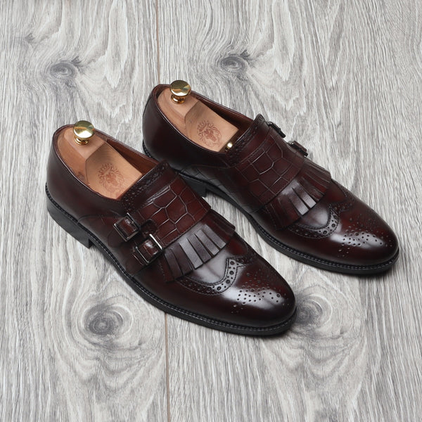 Brown Leather Fringes With Double Monk Croco Strap Shoes By Brune