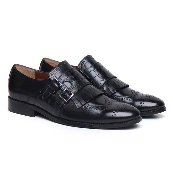 Black Leather Fringes With Double Monk Croco Strap Shoes By Brune