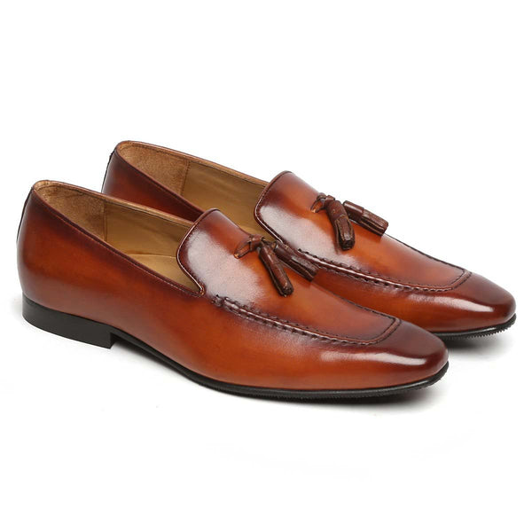 Tan Tassel Leather Shoes By Brune