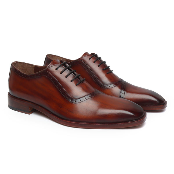 Cognac Leather Hand Colored Overlap Oxfords by Brune