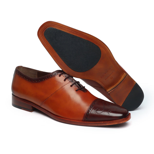 Tan Leather With Contrasting Brown Medallion Toe Formal Shoes By Brune