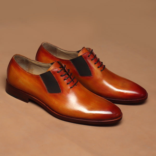 Orange Tanned Leather Side Elastic Lazyman Oxfords by Brune