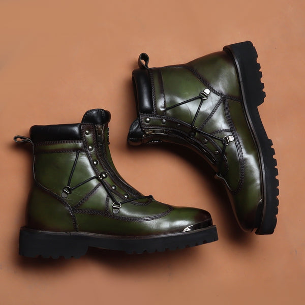 Green Biker Boot With New Shape With Metal Plate On Toe For Men By Bareskin