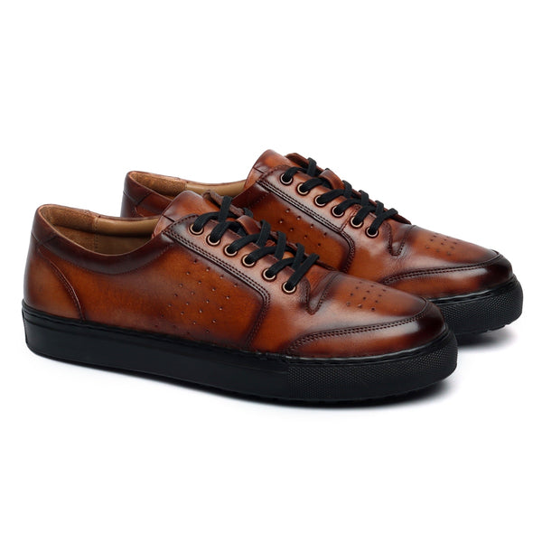 Tan Low Top Front/Side Punching Design With Contrasting Black Sole Sneakers by Bareskin