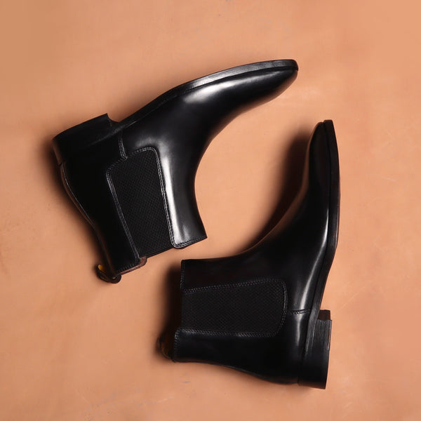 Black Hand Made Chelsea Boots For Men With Leather Sole By Brune