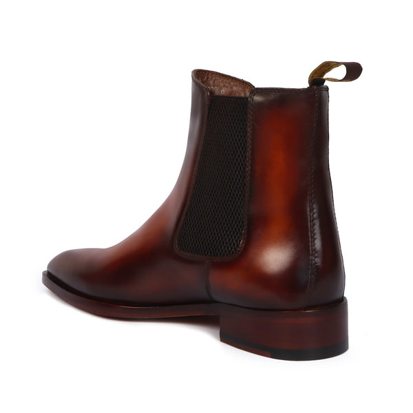 Tan Hand Made Chelsea Boots For Men With Leather Sole By Brune