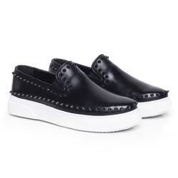 Black Studded Outline Leather Sneakers By Bareskin