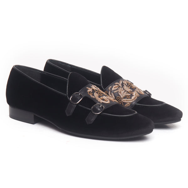 Black Velvet Double Monk Strap With Zardosi Embroidery Shoes By Brune