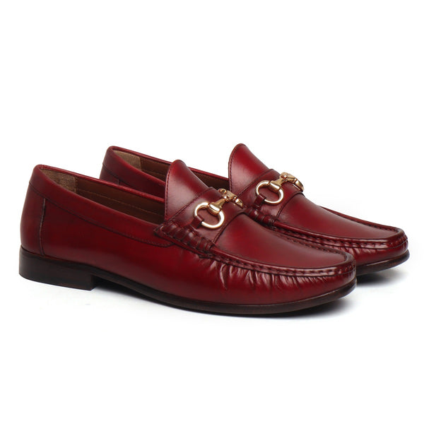 Wine Horsebit Leather Sole Loafers by BRUNE & BARESKIN
