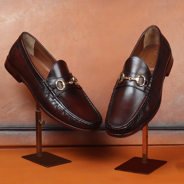 Brown Horsebit With Leather Sole Loafers by BRUNE