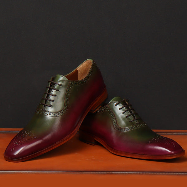 Smoky Merged Plum Purple-Green Hand Colored Leather Brogue Oxford By Brune & Bareskin