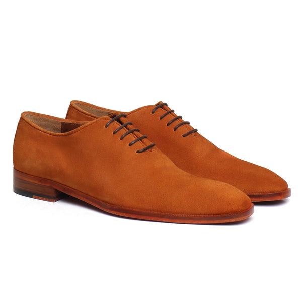 Whole Cut One Piece Orange Suede Leather Oxford Formal Shoes By Brune & Bareskin