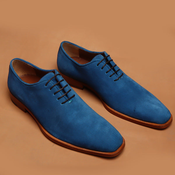 Blue Suede Leather Whole Cut One Piece Oxford Formal Shoes By Brune & Bareskin