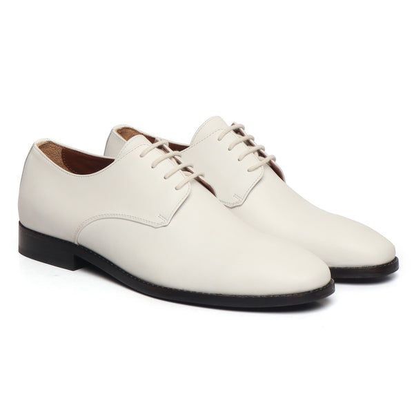 White Leather Lace-Up Quarter Derby Formal Shoe by Brune & Bareskin