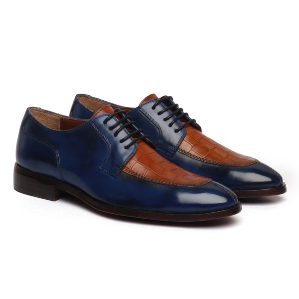 Blue & Deep Cut Tan Leather Lace-Up Derby Shoe by Brune & Bareskin