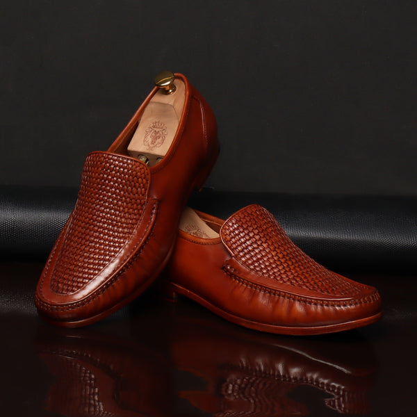 Tan Weaved Vamp Leather Loafers by BRUNE & BARESKIN