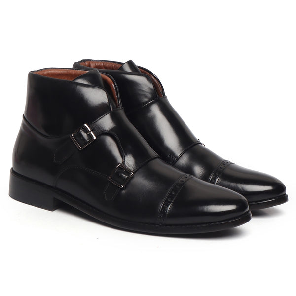 Black Double Monk Strap Extra Padded Collar Leather Boots by Brune & Bareskin