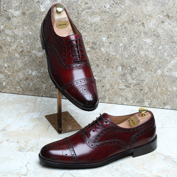 Wine Full Brogue Cap Toe Leather Oxfords by BRUNE