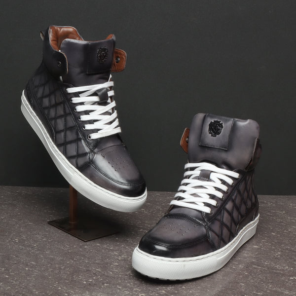 Grey Diamond Stitched Design High Ankle Leather Sneakers By BARESKIN
