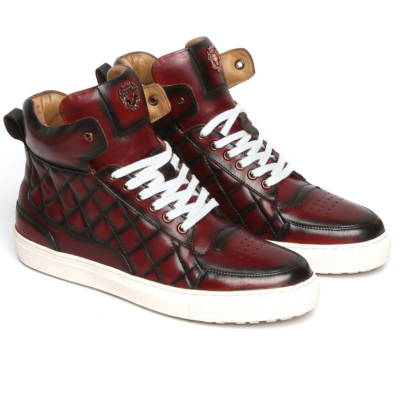 Wine Diamond Stitched Design High Ankle Leather Sneakers By BARESKIN