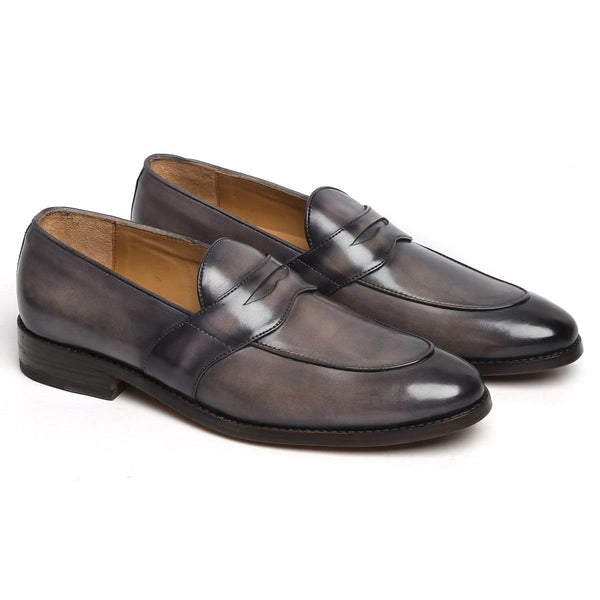 Smoky Grey Leather Penny Loafers By BRUNE