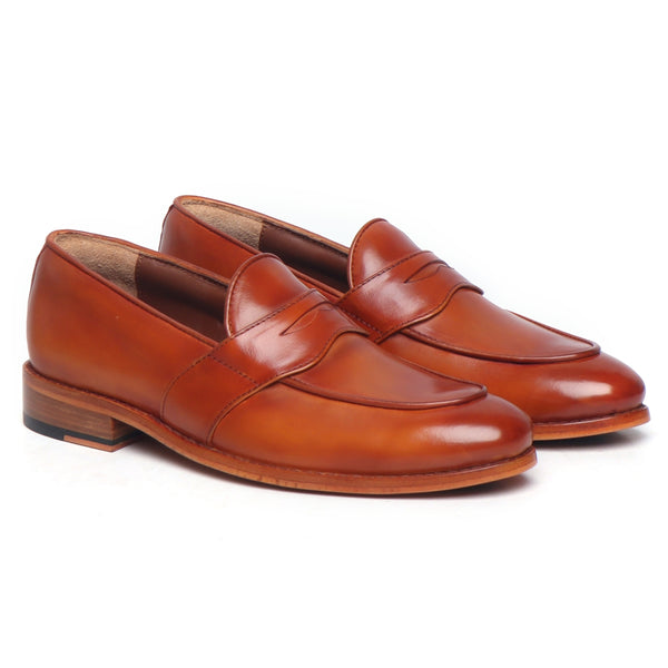 Tan Leather Penny Loafers With Leather Sole By BRUNE