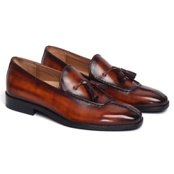 Paint Brush Look Cognac-Brown Leather Tassel Slip-On By BRUNE