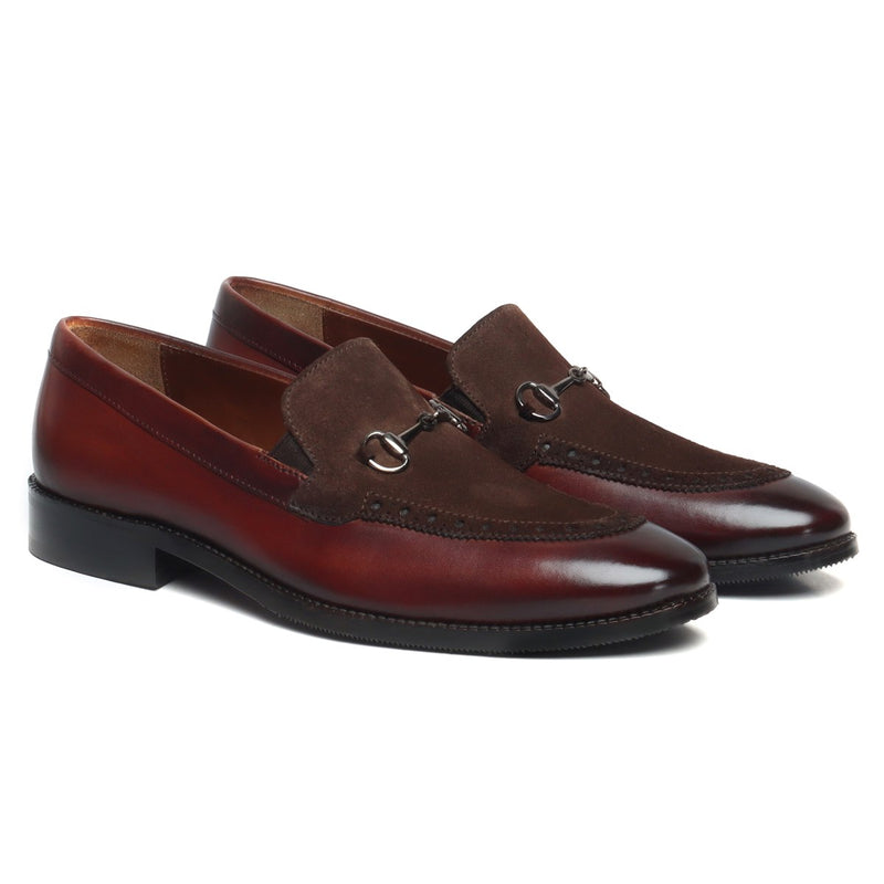 Brown Brogue Design Horsebit Contrasting Suede Leather Loafers by BRUNE