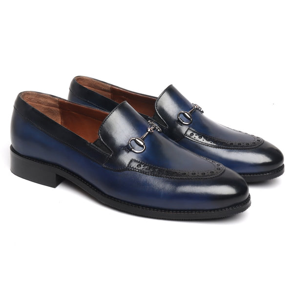 Blue Brogue Design Horse bit Leather Loafers By BRUNE
