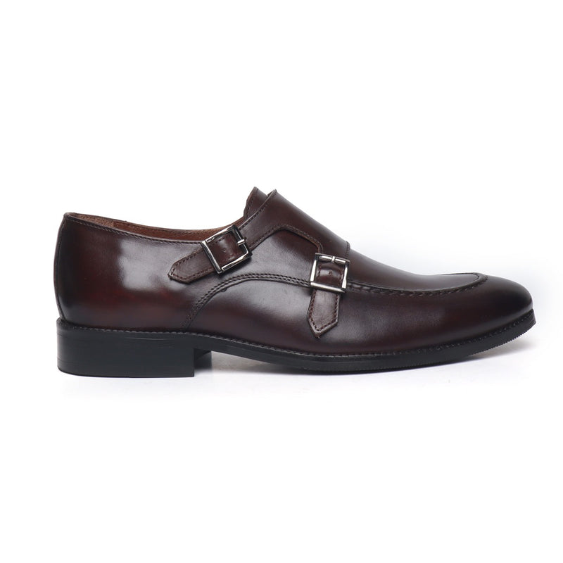 Brown Contrasting Double Monk Leather Shoes By Brune