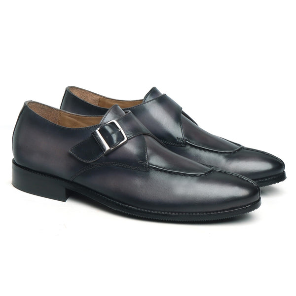 MERGED LOOK BLACK & GREY LEATHER SPLIT TOE MONK STRAP SHOES BY BRUNE