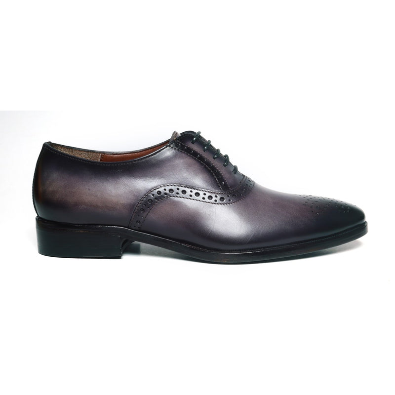 Grey Leather Quarter Brogue Oxford Shoes by BRUNE
