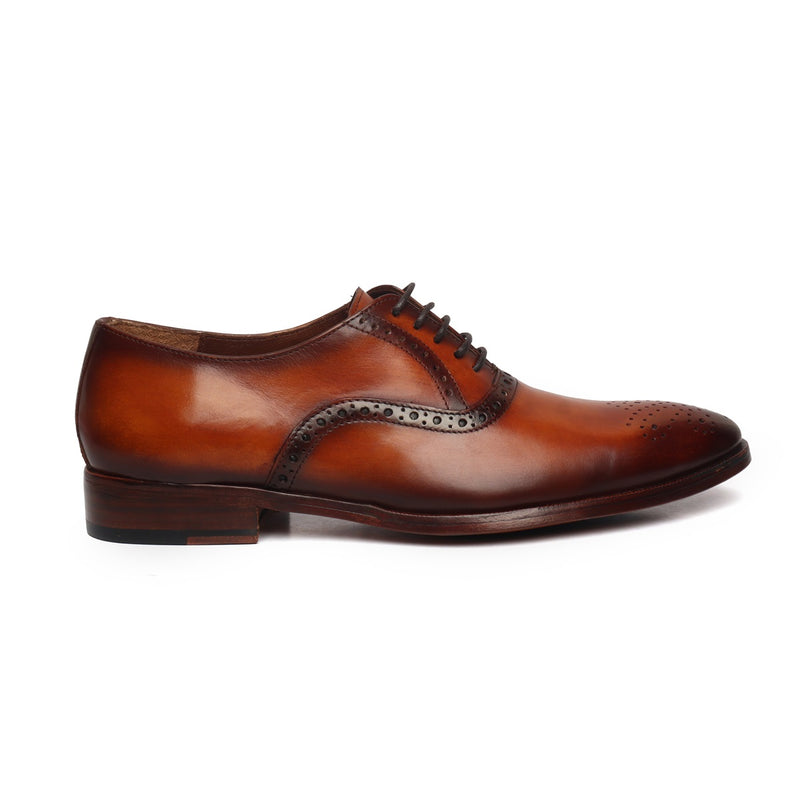 Tan Leather Quarter Brogue Oxford Shoes by BRUNE & BARESKIN