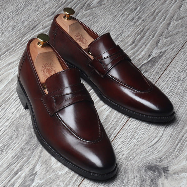 Brown Leather Mod Look Apron Toe Loafers By BRUNE