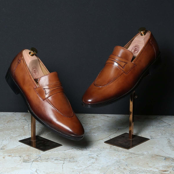 Tan Cognac Leather Mod Look Apron Toe Loafers By Brune
