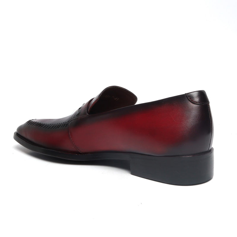 Wine Stitched Design Apron Toe Leather Penny Loafers By BRUNE
