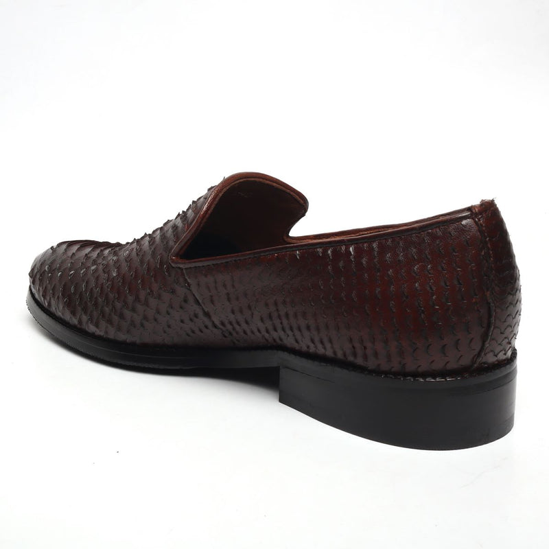Brown Snake Scale Textured Leather Slip-on by BARESKIN