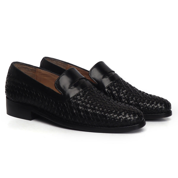 Black Weaved Design Leather Loafers By BRUNE & BARESKIN