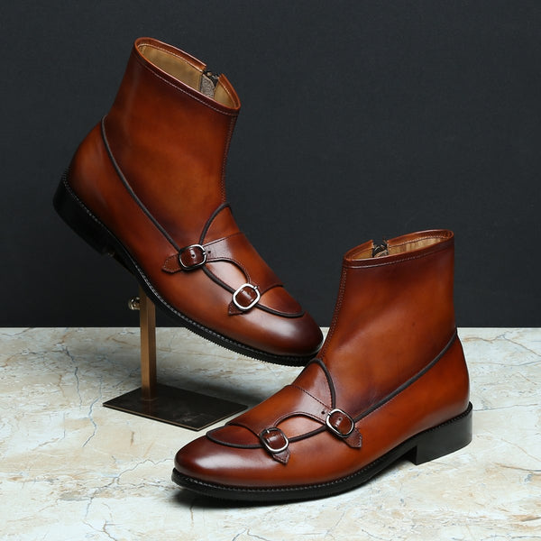Tan Batwing Monk Strap Leather Boot by BRUNE