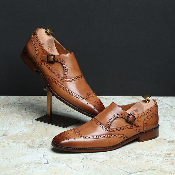 Light Tan Full Brogue Punch Single Strap Monks by BRUNE