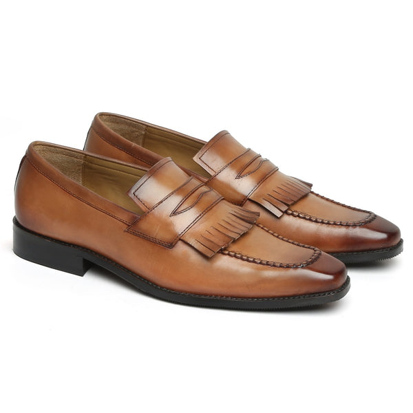 Light Tan Leather Flat Fringes Slip-On by BRUNE