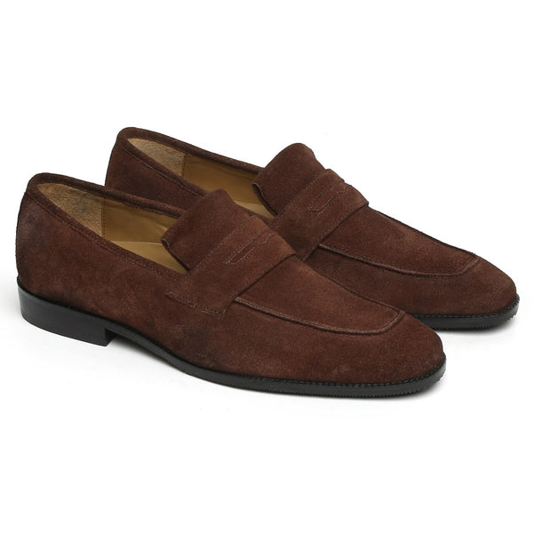 Brown Suede Leather Squared Apron Toe Formal Slip-On by BRUNE