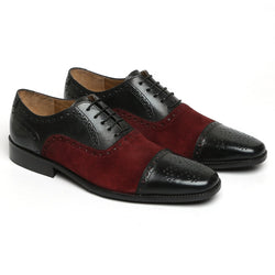 Brune black leather laceup with dark red suede combination in oxford.