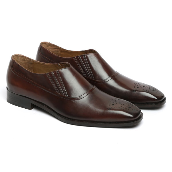 Brown Leather Sleek Look Men Slip-On by BRUNE