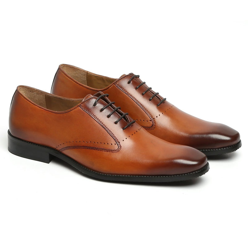 Tan Sleek Look Burnished Toe Lace Up Oxfords by BRUNE